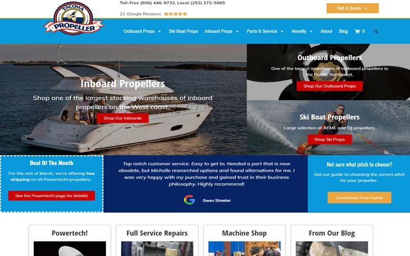 Tacoma Propeller Sells Boat Propellers and Parts